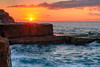 Rock Shelf Sunrise Seascape by Merrillie
