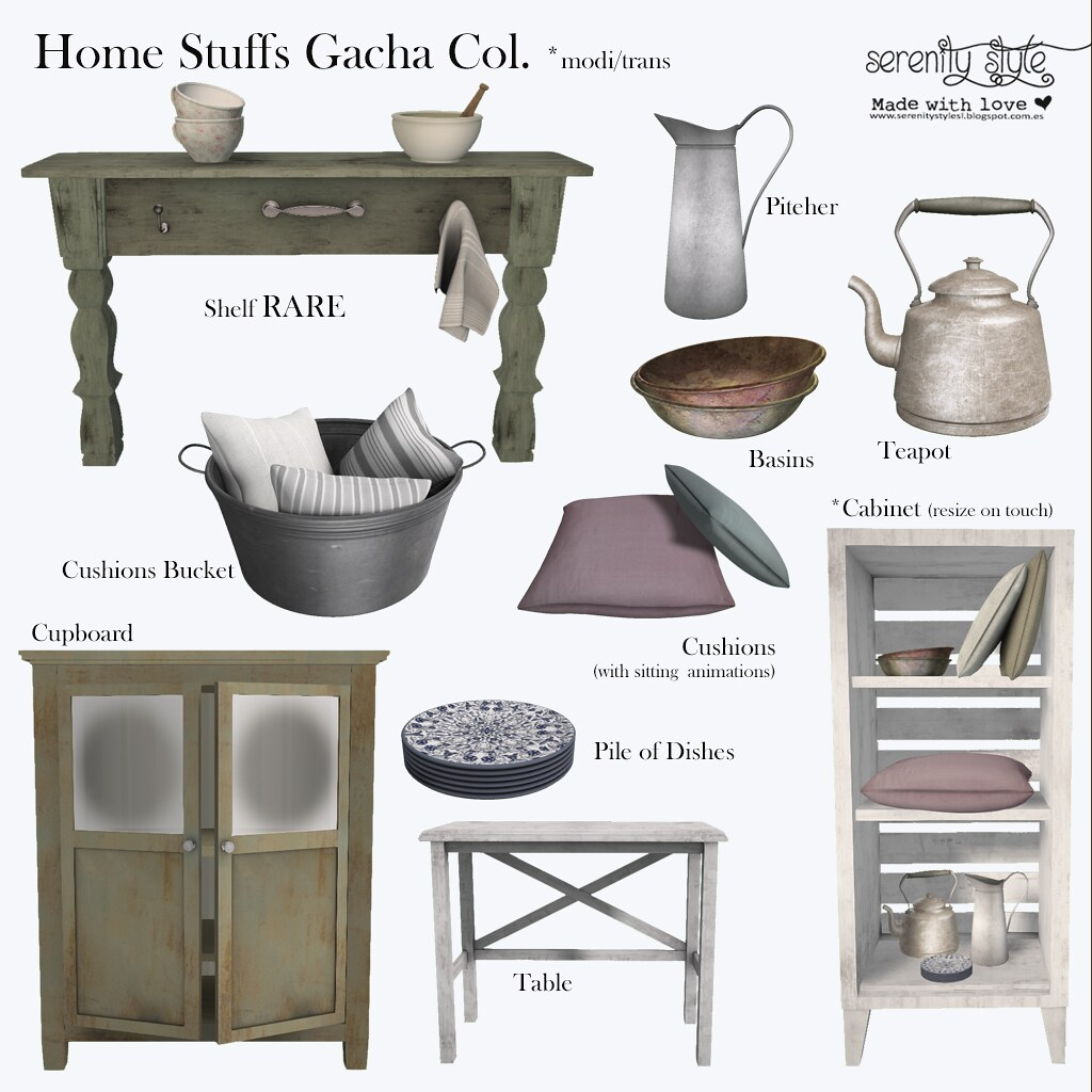 Serenity Style- Home Stuffs Gacha Collection - SecondLifeHub.com