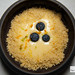 Lemon cream with crumble and blueberries