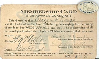 Elephant Club membership card and button, 1921