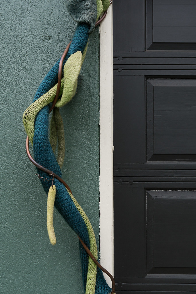 An artistic vine climbs up a garage in the Irvington neighborhood of Portland, Oregon