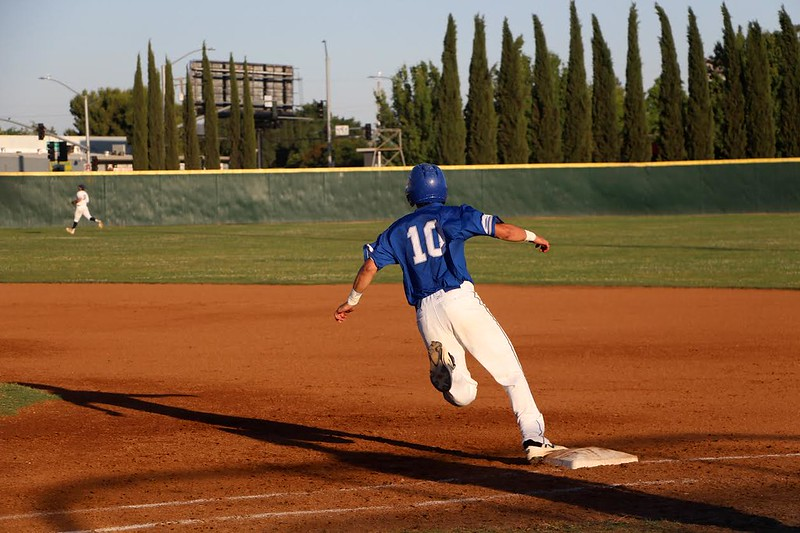 Junior Reed Hessl flies across the bases early into the game.