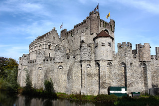 12th century moated castle Gravensteen in central Ghent