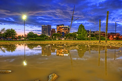 Baltimore: Harbor East puddle reflection at dawn