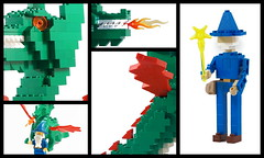 LEGO Dragon Sculpture with Majisto Wizard Collage