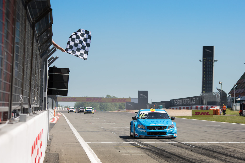 62 BJORK Thed (swe), Volvo S60 Polestar team Polestar Cyan Racing, action chequered damier drapeaux flag during the 2017 FIA WTCC World Touring Car Race of Nurburgring, Germany from May 26 to 28 - Photo Antonin Vincent / DPPI