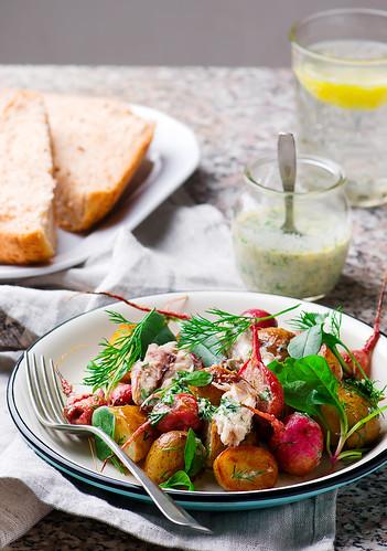 roast radish new potato peppered mackerel salad