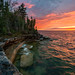 """A Fiery lake Superior Sunset"" by Michigan Nut"