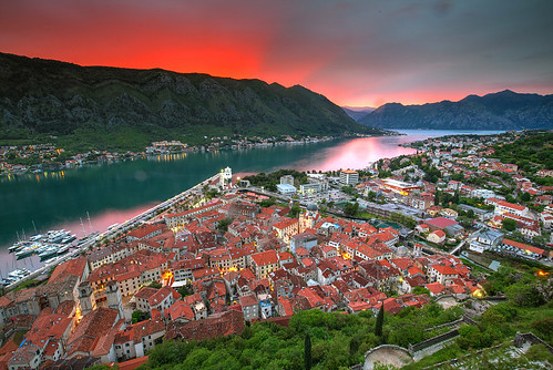 crnagora adriatic balkan cattaro kotor montenegro dusk spring sunset црнагора котор