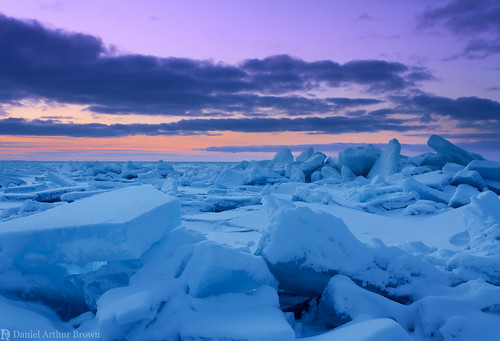 february greatlakes mi mackinawcity michigan stignace straitsofmackinac upperpeninsula blue cerulean cold dusk frozen ice iceshelf landscape nature sunset travel twilight winter