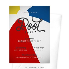 It's time for a pool party! This is an exciting and creative pool party invitation that features a close up illustration of a beach ball. The card exudes fun and has a hint of vintage. Perfect for adult parties and children's celebrations #poolparty #summ