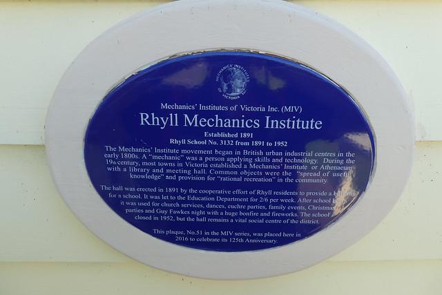 Photo of Rhyll Mechanics' Institute blue plaque
