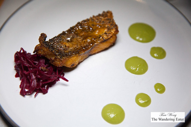 Sea bass, red cabbage, avocado