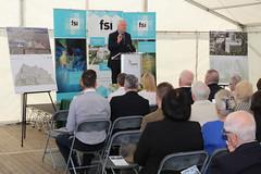 OPW architect Ciaran O'Connor addresses gathering at site of future FSI facility