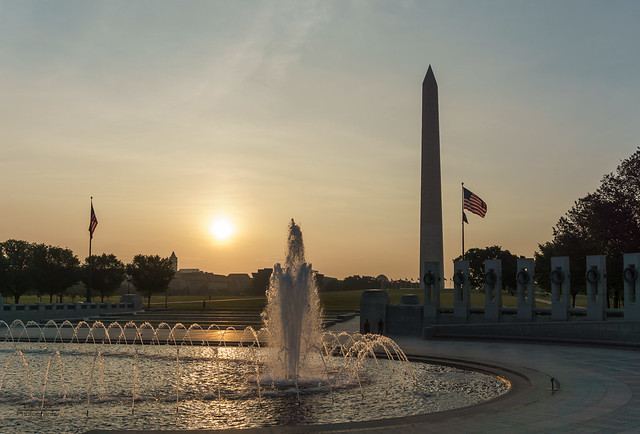 Sunrise over the WWII Memorial.