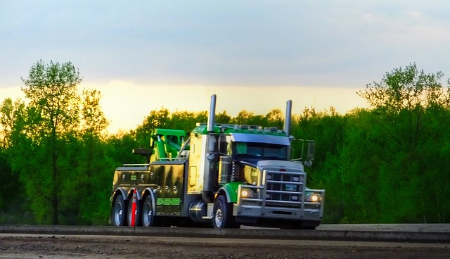 Champion Towing Peterbilt on The Trans Canada Highway in Eastern Manitoba