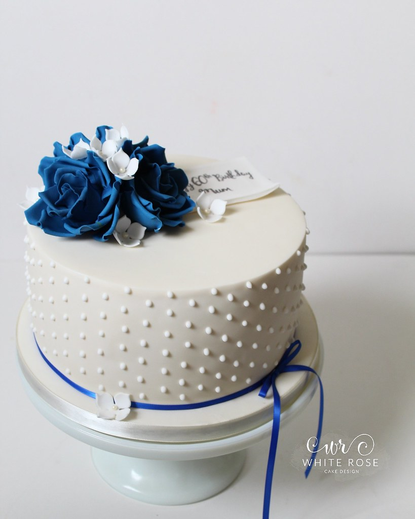 Blue And White 60th Birthday Cake By White Rose Cake Desig Flickr