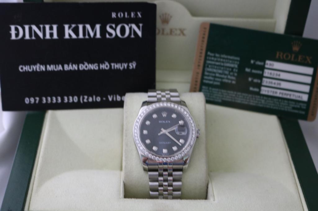 Đồng hồ rolex datejust 6 số 116234 – mặt vi tính xoàn – inox – size 36mm Nam