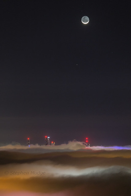 Moon and Mercury above foggy Brisbane #3