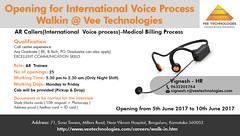 Immediate opening for International Voice Process Walkin @ Vee Technologies