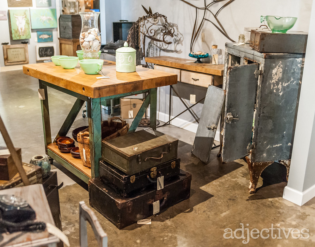 Custom Kitchen Island, vintage trunks, metal decor in Altamonte by 510 Decor