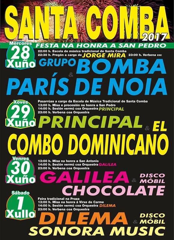 Santa Comba 2017 - Festas patronais de San Pedro - cartel