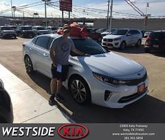 Congratulations John on your #Kia #Optima from Orlando Baez at Westside Kia!