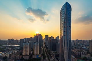 Chengdu downtown skyline at sunset by Philippe Lejeanvre - 乐让菲力