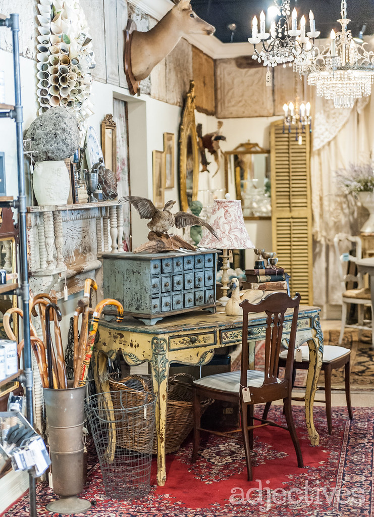 Vintage desk, canes and home decor in Winter Park by The French Nest