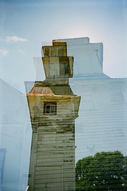 Old church, double exposure