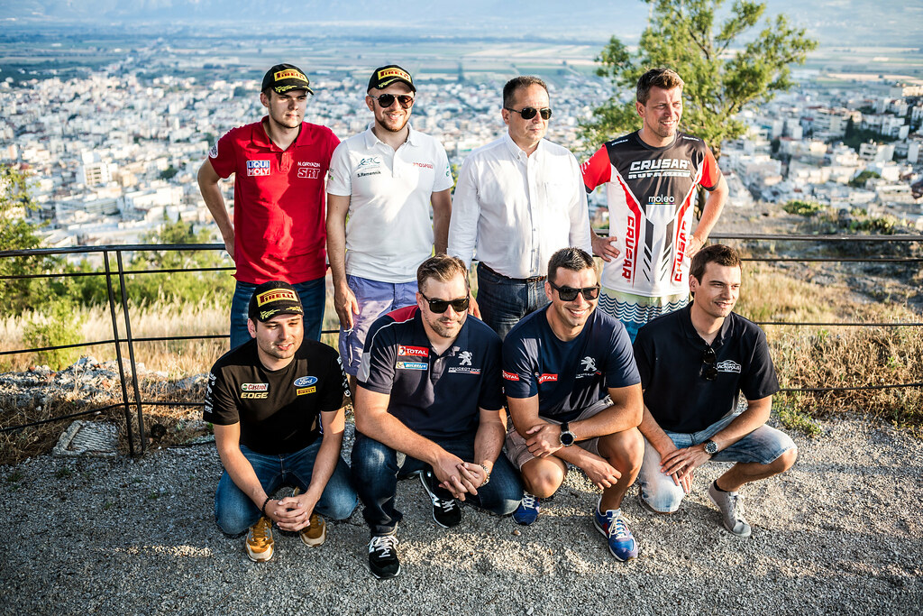 GRYAZIN Nikolay (lva), REMENNIK Sergei (rus), GRZYB Grzegorz (pol), BANAZ Bugra (tur) and MAGALHAES Bruno (prt) ambiance portrait during the European Rally Championship 2017 - Acropolis Rally Of Grece - From June 2 to 4 - Photo Thomas Fenetre / DPPI