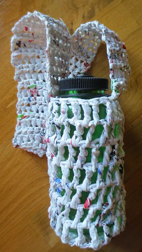 Recycled Plastic Bag #Plarn Water Bottle Holder