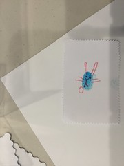Fingerprint art activity - blue rabbit