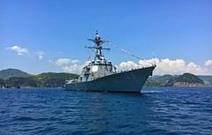 USS Mustin (DDG 89) sits at anchor off Shimoda, May 18. (U.S. Navy)