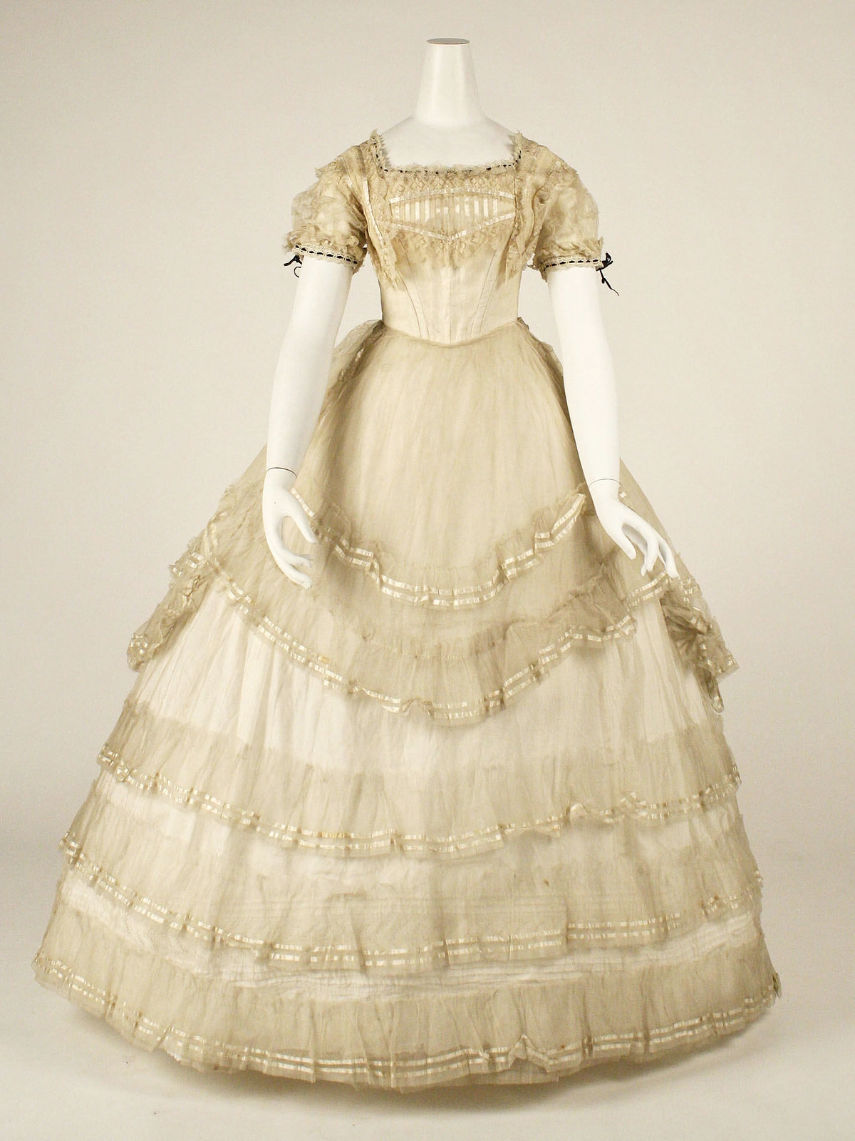 1869 Ball Gown. British. Cotton, silk. metmuseum