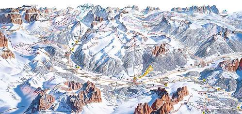 Val di Fassa - Catinaccio - mapa sjezdovek