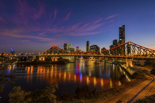 red storybridge brisbane brisbaneriver australia queensland longexposure sunset reflection blue nikond800 cityscape city fun travel reisen