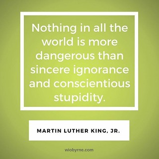 Nothing in all the world is more dangerous than sincere ignorance and conscientious stupidity. - Martin Luther King, Jr. In this week's issue of TL;DR - wiobyrne.com/tldr/ #truth #honesty #fiction #ignorance #education #perspective #identity