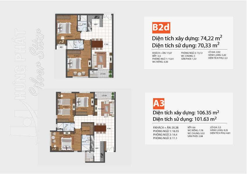 MẶt bằng căn hộ Hưng Phát Silver Star loại 2 phòng ngủ, 3 phòng ngủ.