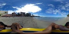 View from the Royal Hawaiian-Moana Beach in Waikiki - a 360° Equirectangular VR (Theta S)