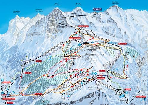 Grindelwald Wengen - Kleine Scheidegg Männlichen - mapa sjezdovek