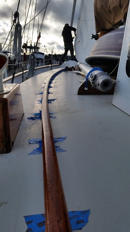 handrail varnish and staysail hoist