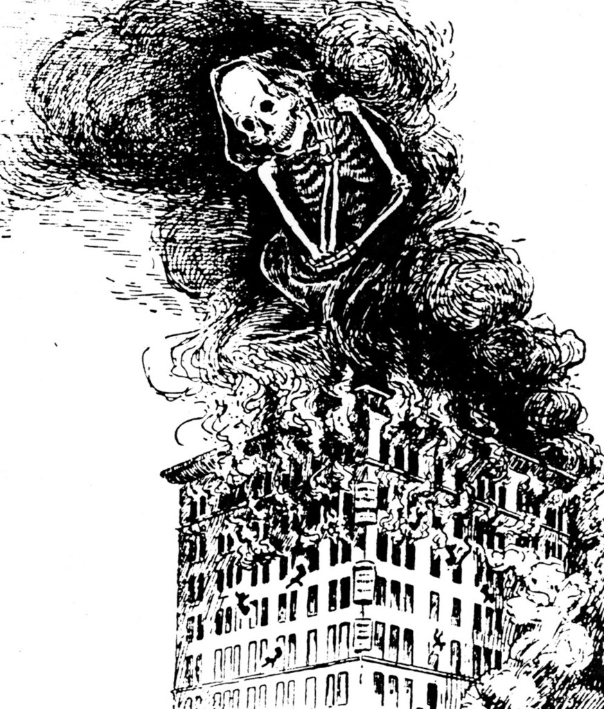 The spectre of Death rises with the smoke and flames of the burning Asch Building as people jump and fall to their death, 1911