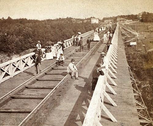 Parasols on Portage High Bridge, taken before 1875