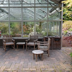 #seatingarea outside the #conservatory ... #greenhouse #botanicalgarden #recycle #trashcan #patiofurniture #federalway