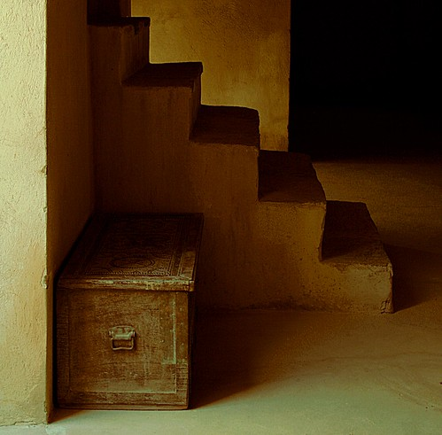darkness chest staircase secret building fort nizwa oman shade light