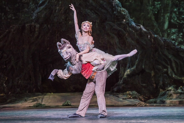 Bennet Gartside as Bottom and Akane Takada as Titania in The Dream, The Royal Ballet © 2017 ROH. Photograph by Tristram Kenton