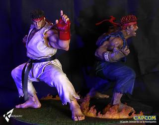 真之格鬥家還是第二位拳之極者?!Kinetiquettes The Beast Unleashed 【隆/殺意隆】Ryu、Evil Ryu 1/4  比例全身雕像!!