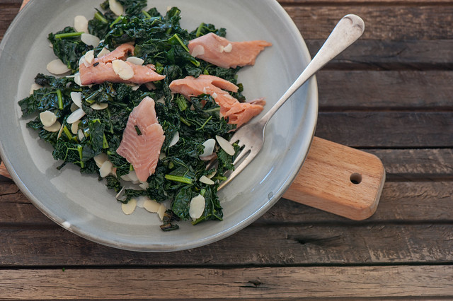 Lemony Kale with Smoked Trout & Almonds-2