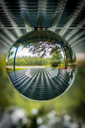 sphere orb ball glass crystal crystalball glassball inverted abstract angles perspective outdoor picnic distorted picnictable angel canon 70d eos surreal